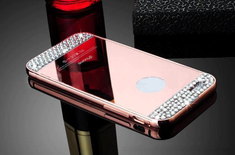 Алюминиевый чехол бампер с стразами зеркальный для iPhone 6/6s