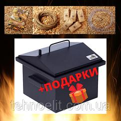 Домашняя коптильня для горячего копчения домик окрашенная 300х300х250