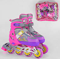 Роликовые коньки раздвижные Best Roller 2668-S размер 30-33 колёса PVC d – 6, 5 см со светом в сумке розовые