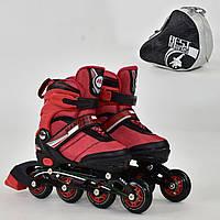 """Ролики 8901 """"S"""" Best Roller красные (размер 31-34), колёса PU, без света, в сумке, d=6.4 см"""