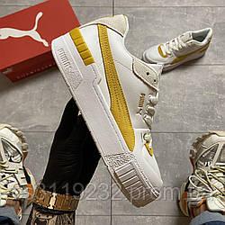 Женские кроссовки Puma Select Cali Sport White Yellow (белый/желтый)