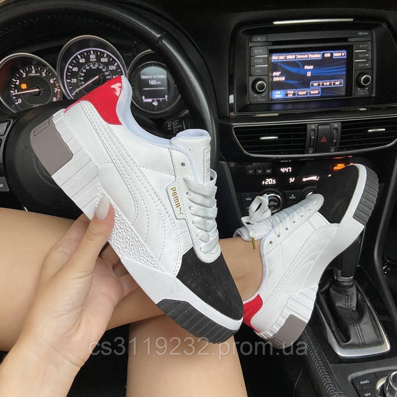 Женские кроссовки Puma  Cali White and Black/Red (белые)