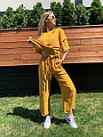 Жіночий лляний костюм: футболка і штани вільні кюлоти (в кольорах), фото 8