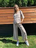 Жіночий лляний костюм: футболка і штани вільні кюлоти (в кольорах), фото 5