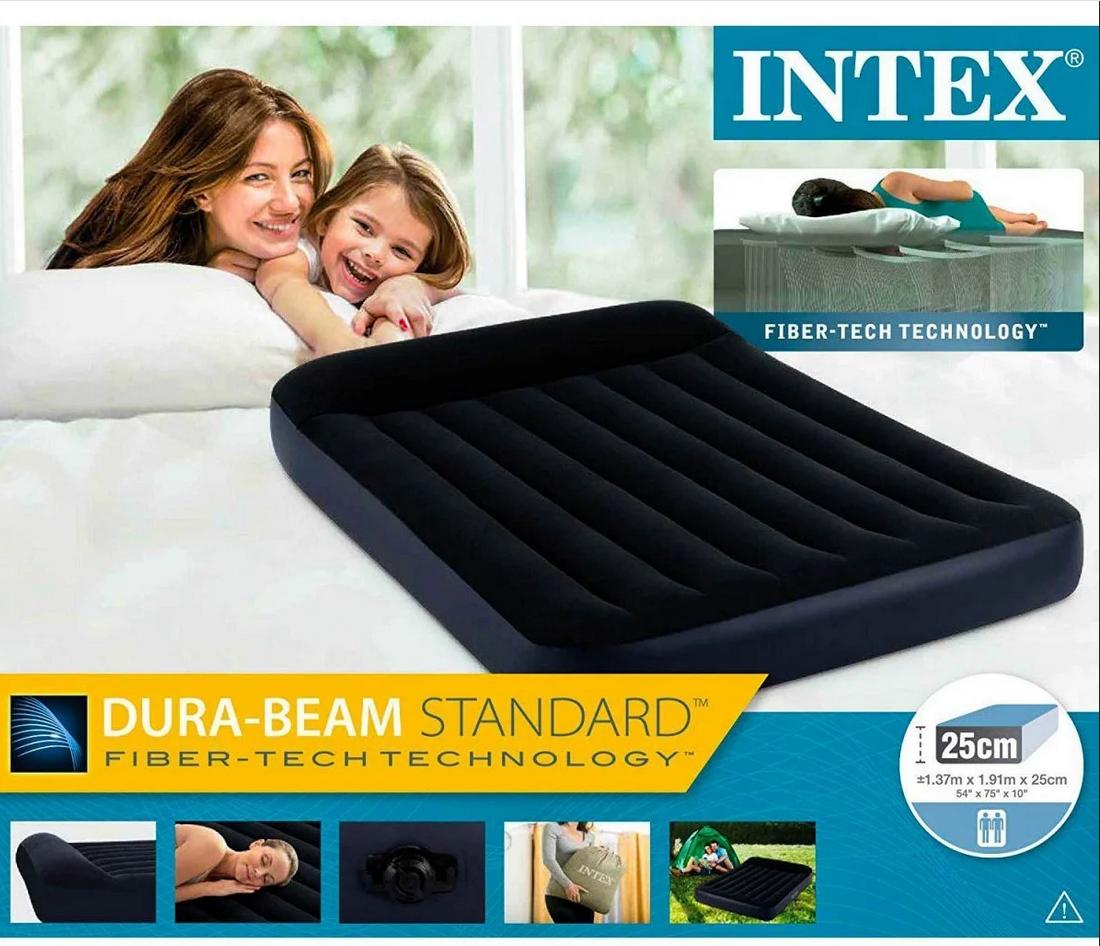 Велюр-кровать матрас полутораместный Intex 64142 с подголовником, размер 191*137*25 см