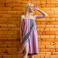 Махрове полотенце (кілт-парео) 90х150 см серо-розовый