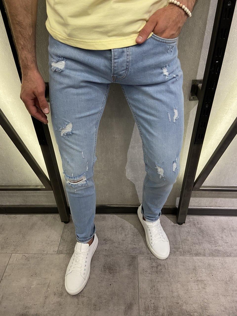 Мужские джинсы рваные голубые 18242