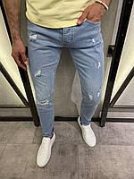 Мужские джинсы рваные голубые 18242, фото 1