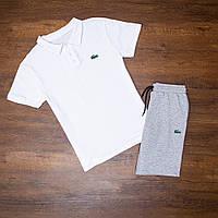 Мужской летний комплект Lacoste шорты(серые)+футболка(белая)