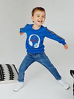 Яркий свитшот для мальчика лето-осень  насыщенного синего цвета 110, 116, 122