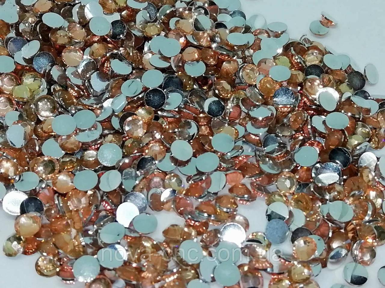 Стразы Термоклеевые, Круглые, Граненые, Плоские сзади, Цвет: Топаз, Размер: 4 мм., 5000 шт