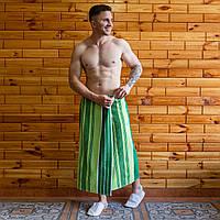 Банное полотенце махровое на запах 90х150 см зеленый