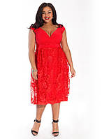 Стильное яркое сарафан-платье большого размера от Lusien