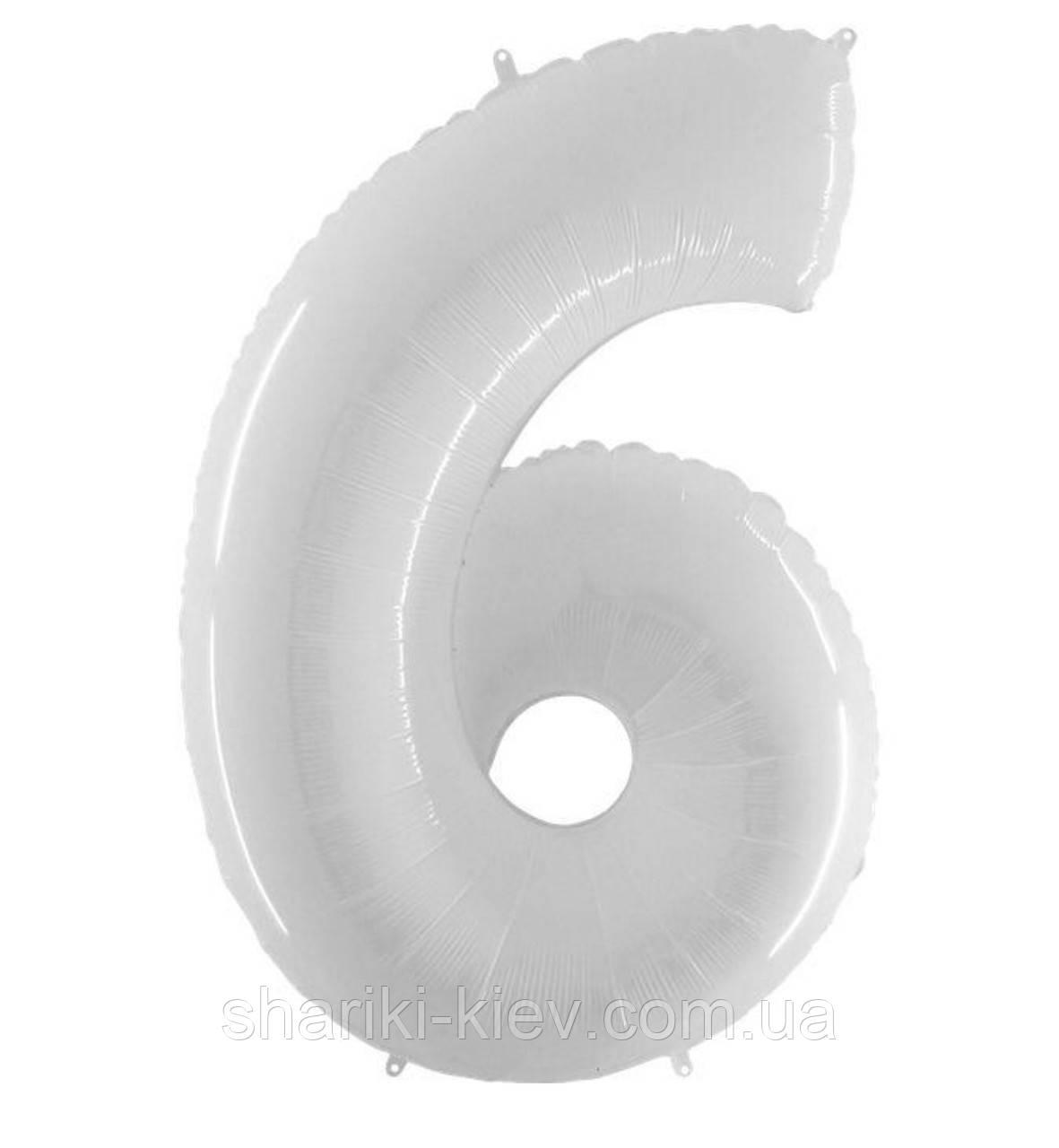 Цифра 6 Белая с Гелием Фольгированная