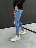 Джинсы мужские синие брендовые рваные, фото 3