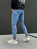 Джинсы мужские синие брендовые рваные, фото 6