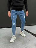 Джинси чоловічі сині брендові рвані, фото 2