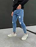 Джинсы мужские синие брендовые рваные, фото 4