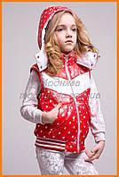 Жилетки для девочек | Утепленная жилетка красная