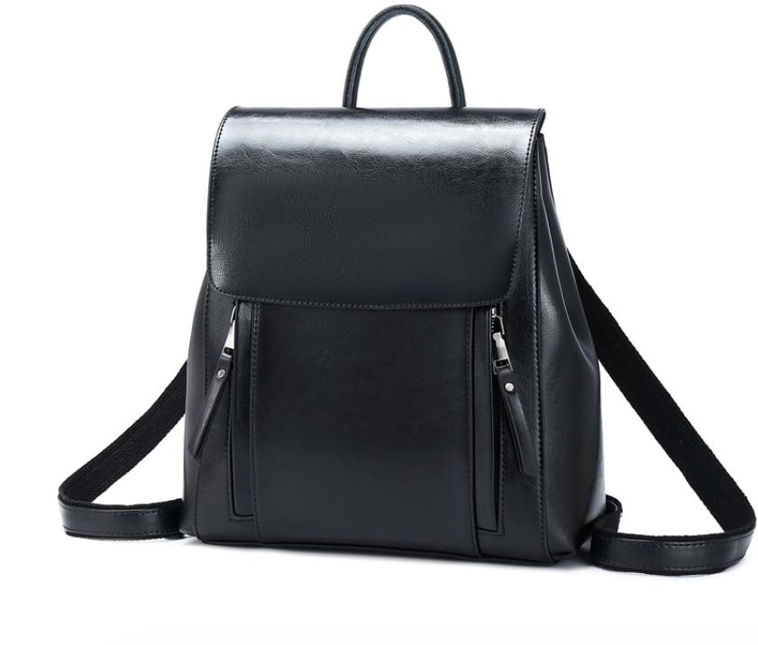 Рюкзак женский трансформер сумка из натуральной кожи Classic Черный