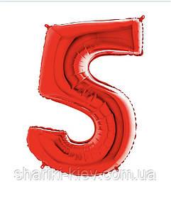 Цифра 5 Красная с Гелием Фольгированная