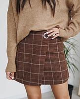 Короткая твидовая юбка в клетку размер XS-S M юбка на запах коричневая