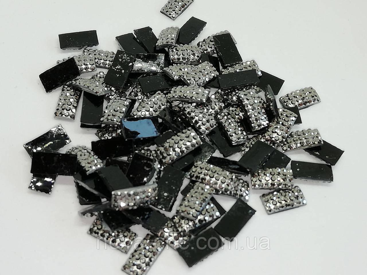 Клеевые кабошоны, Цвет: Черный с серебром, 10 х 4 мм 1000 шт уп