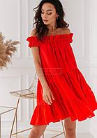 Платье женское легкое свободного кроя с открытыми плечами с оборками Sml4531
