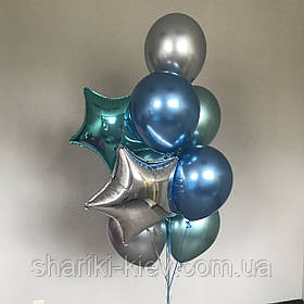 Связка шаров на подарок 7 шаров хром и 2 фольгированные звезды