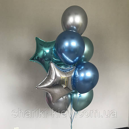 Связка шаров на подарок 7 шаров хром и 2 фольгированные звезды, фото 2