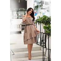 Стильное платье миди женское Лён 11391