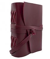 Кожаный Блокнот записная книга А5 женский Comfy Strap ручной работы из кожи Кайзер Бордовый