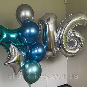 Цифры в серебре и связка: 7 шаров хром и 2 звезды, фото 2