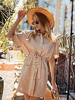 Платье рубашка мини женское стильное из льна с карманами и поясом Sml4532, фото 1