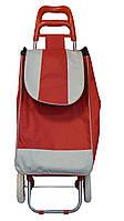 Сумка хозяйственная на колесах, Красная, дорожная Двухцветная, Хозяйственные сумки и тележки
