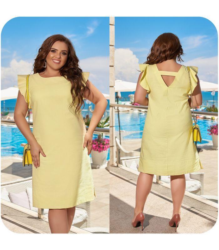 Жіноче лляне плаття з V-подібним декольте на спині великі розміри 48-66
