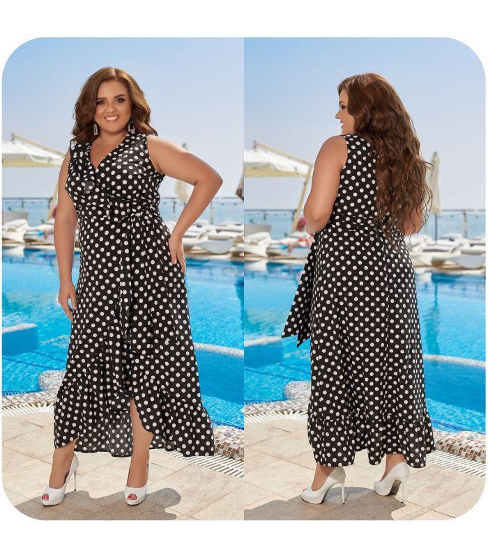Женское платье на запах в горошек больших размеров