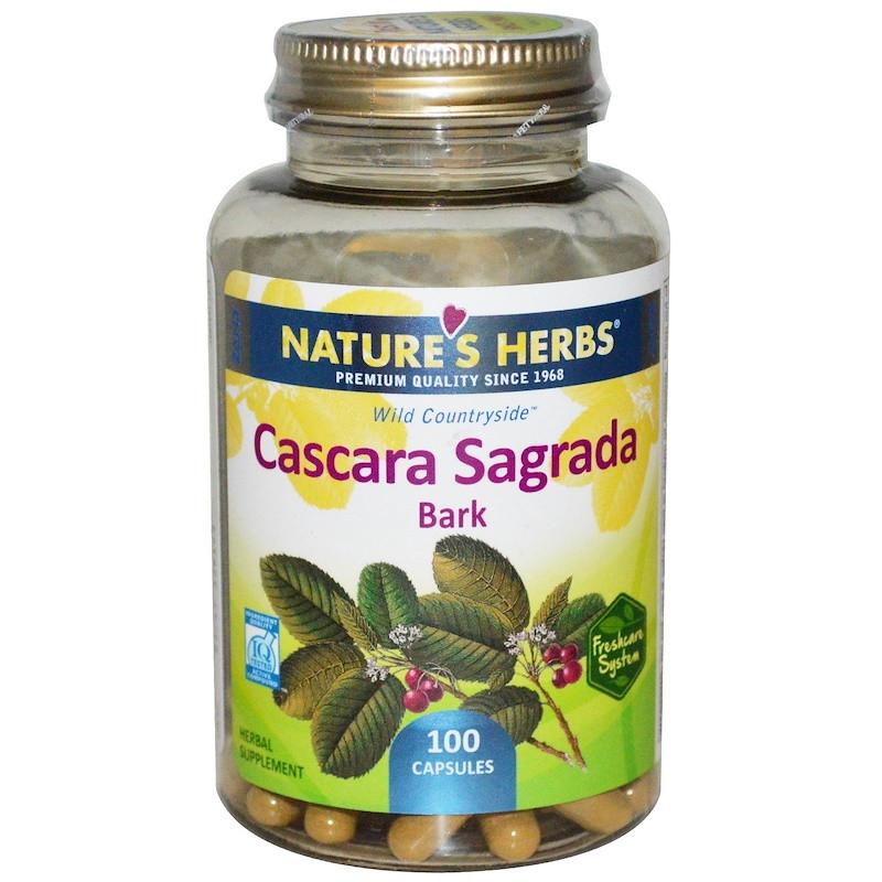 Nature's Herbs, Каскара Саграда - кора, Cascara Sagrada, крушина, 100 капсул