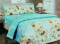 Комплект постельного белья полуторный Бязь GOLD 100% хлопок Белые цветы на голубом
