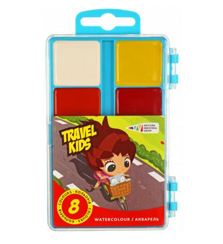 "Акварельні фарби 8 кол,""Travel Kids""пласт уп,."