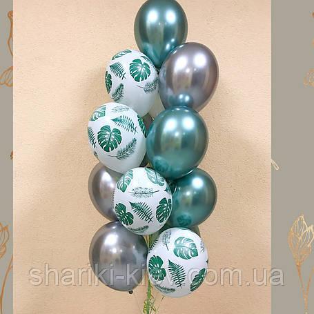 Связка шаров 5 с рисунком и 8 шаров хром, фото 2