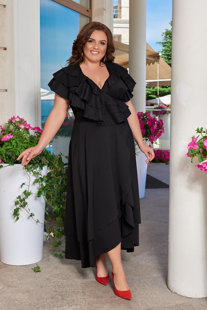 Женское черное длинное платье на запахом с рюшами больших размеров 48-66