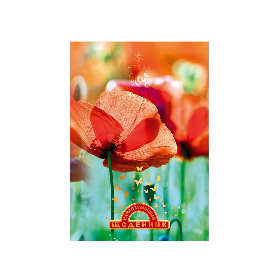 Щоденник учнівський Найрозумніший ТП, мат лам-виб УФ-лак+тисн, Маки, 1В1568, 20 шт/уп