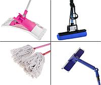 Инвентарь для подметания и мытья полов и стеклянных поверхностей.