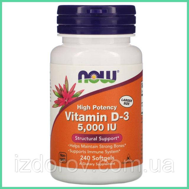 Now Foods, Витамин D3 5000 МЕ (холекальциферол), 240 мягких таблеток. США