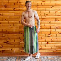 Банное полотенце махровое на запах 90х150 см серо-зеленый