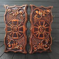 Короткие нарды из дерева ручной работы, эксклюзивный подарок 36*18см, фото 1