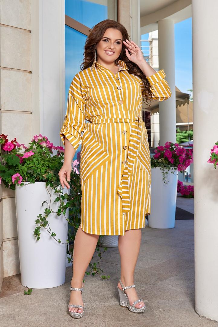 Женское коттоновое платье - рубашка больших размеров в полоску 48-66р. горчичное