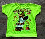 Детская футболка неоновая из фуликры Минни Маус, фото 2