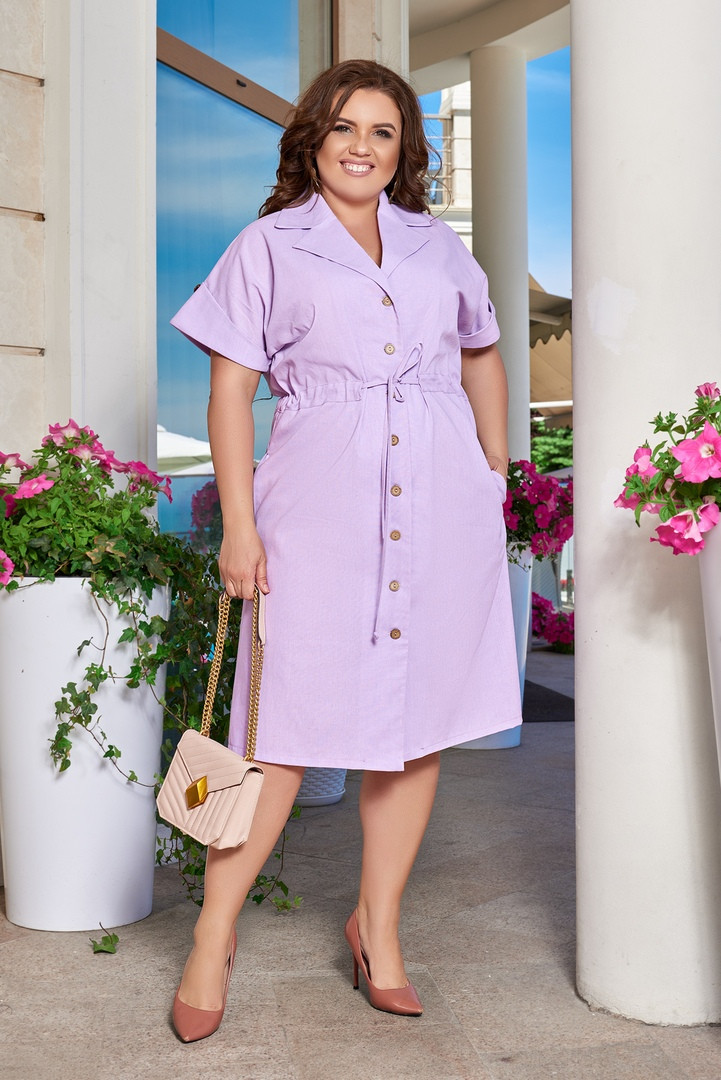 Женское сиреневое льняное платье-рубашка на кулиске большие размеры 48-66